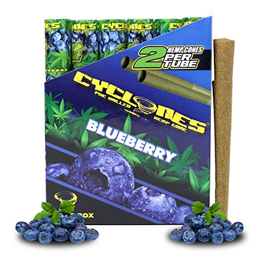 Cyclones Blueberry Pre-Rolled Flavored Hemp Wraps (12 Packs, 2 Wraps Per Pack) Total 24 Wraps and ES Scoop Card