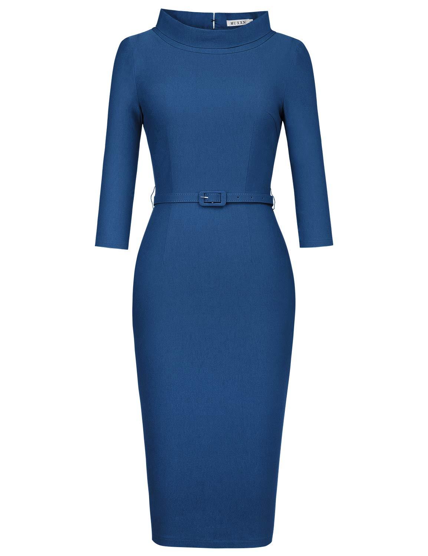 Available at Amazon: MUXXN Women's 1950s Vintage 3/4 Sleeve Elegant Collar Cocktail Evening Dress