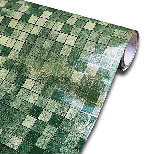 Mosaic Shelf Liner Contact Paper Waterproof Self adhesive Wallpaper for Kitchen Backsplash Tile Bathroom Wall Decor Wallpaper,Green,3mX45cm