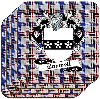 BOSWELL SCOTTISH CLAN COAT OF ARMS SQUARE DRINKS COASTER ON BOSWELL TARTAN BACKGROUND – SET OF FOUR