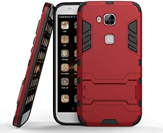 Huawei GX8 Case, Huawei G7 Plus Case, Hybrid Armor Case [2 in 1] Lightweight Hard PC Cover + Flexible TPU Shock Absorption with Kickstand for Huawei G7 Plus / G8 / GX8 (5.5 inches) - Red