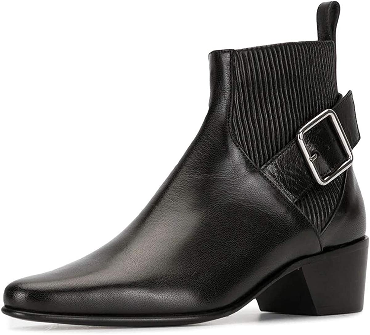 YDN 通販 Women Retro Pull On Chelsea Lo Ankle Boots Chunky Toe Closed 高額売筋
