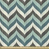 ABAKUHAUS Turquesa Tela por Metro, Líneas Onduladas Abstractas, Decorativa para Tapicería y Textiles del Hogar, 1M (148x100cm), Multicolor
