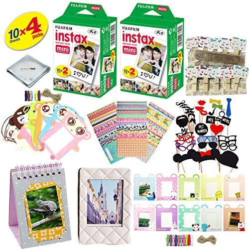 Fujifilm instax Mini 8, Mini 9 and Mini 11 Camera Accessory KIT Includes - Fuji Instant Film 40 Sheets + Premium Over 60 PCS Bundle for fujifilm instax Mini 8 & Mini 9 Films