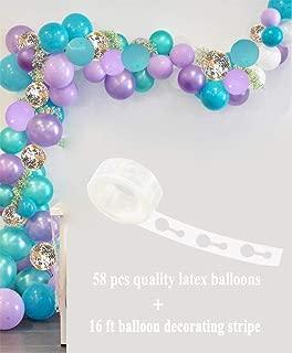 CREATEASY Mermaid Balloons Shiny Gold Confetti Balloon Mermaid Tales Bubble Aqua Purple Thick Latex Balloons