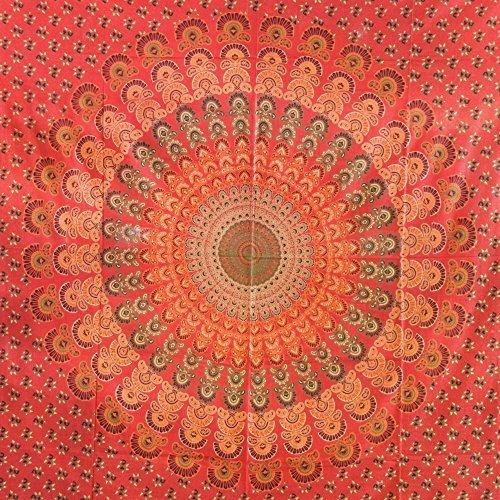Tagesdecke Pfau rot orange indische Decke Baumwolle Überwurf Wandbehang Vorhang