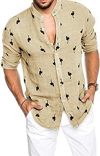 Hestenve Mens Cotton Linen Long Sleeve Hawaiian Shirts Flamingos Print Tees Button Down Aloha Tropical Tops