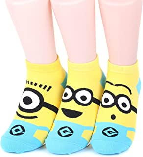 Kiss Socks, Minions Women's Ankle Socks 3 pairs (3 color) = 1 pack Made in Korea