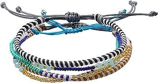 Jeka 3 Pcs Handmade Waterproof Friendship Wrap Braided Bracelets for Women Girls