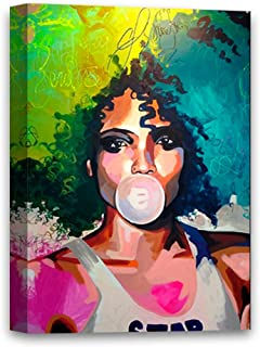 African Woman Chewing Bubble Gum Beautiful Woman Portrait Canvas African Girl Portrait Pop Art Picture Colorful Decals Bubble Gum Picture 8