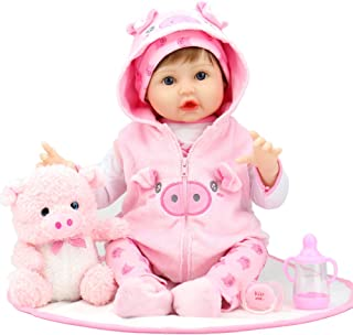 Aori Lifelike Realistic Reborn Baby Dolls 22 Inch Weighted Reborn Girl Doll with Pink Clothes and Pigget Toy Accessories B...