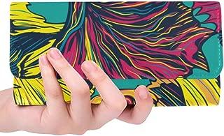 Unique Custom Fish Sea Bottom Color Hand Drawn Women Trifold Wallet Long Purse Credit Card Holder Case Handbag
