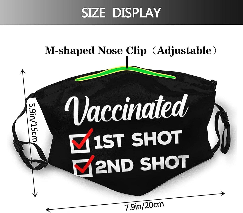 gmani Vaccinated Shot Face Mask Washable Reusable Adjustable Breathable Cloth Balaclavas for Adult Men Women