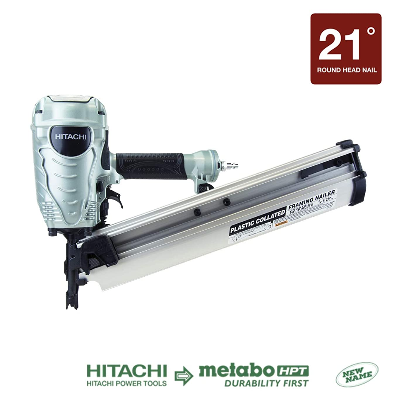Hitachi NR90AES1 Framing Nailer, 2-Inch to 3-1/2-Inch Plastic Collated Full Head Nails, 21 Degree Pneumatic, Selective Actuation Switch, 5-Year Warranty (Discontinued by the Manufacturer)