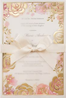 WISHMADE 50pcs Wedding Invitations Cards Kits with Ribbon Gold Rose Bronzing Design Invites and Watercolor Floral Insert Baby Shower Engagement Birthday Party