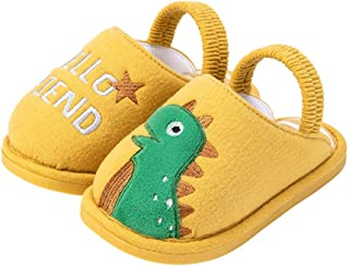 TITAP 12M-5Y New Winter Dinosaur Kids Slippers for Toddler Boys Indoor Shoes Baby Girl Cotton Warm House Children Slipper (Age:3.5-4Years, Yellow)