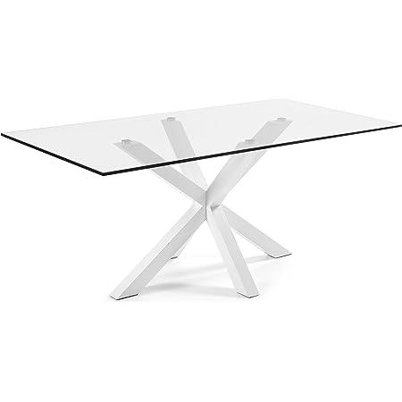 LF - Table de salle à manger Arya 200 x 100 plateau verre pied blanc