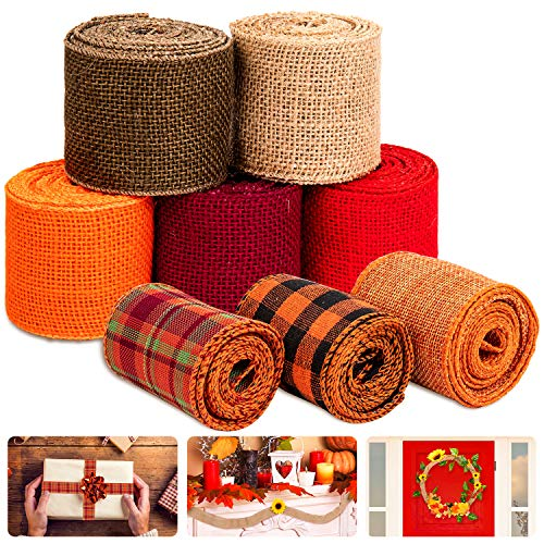 Whaline 8 Burlap Ribbon Roll Assorted Fall Wired Wrapping Ribbon Rustic Plaid Red Orange Brown Nature Craft Ribbon for Gift Wrapping Thanksgiving Christmas Wedding Autumn Harvest Wreath Decor, 26 Yard