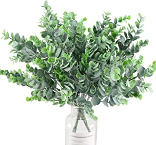 XYXCMOR Artificial Eucalyptus Leaves 4pcs Eucalyptus Branches Greenery Stems Bushes Plastic Plants Floral Greenery Stems for Home Party Wedding Decoration