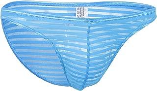 Prettyia Men's Striped Sheer Mesh Briefs Low Rise Underwear