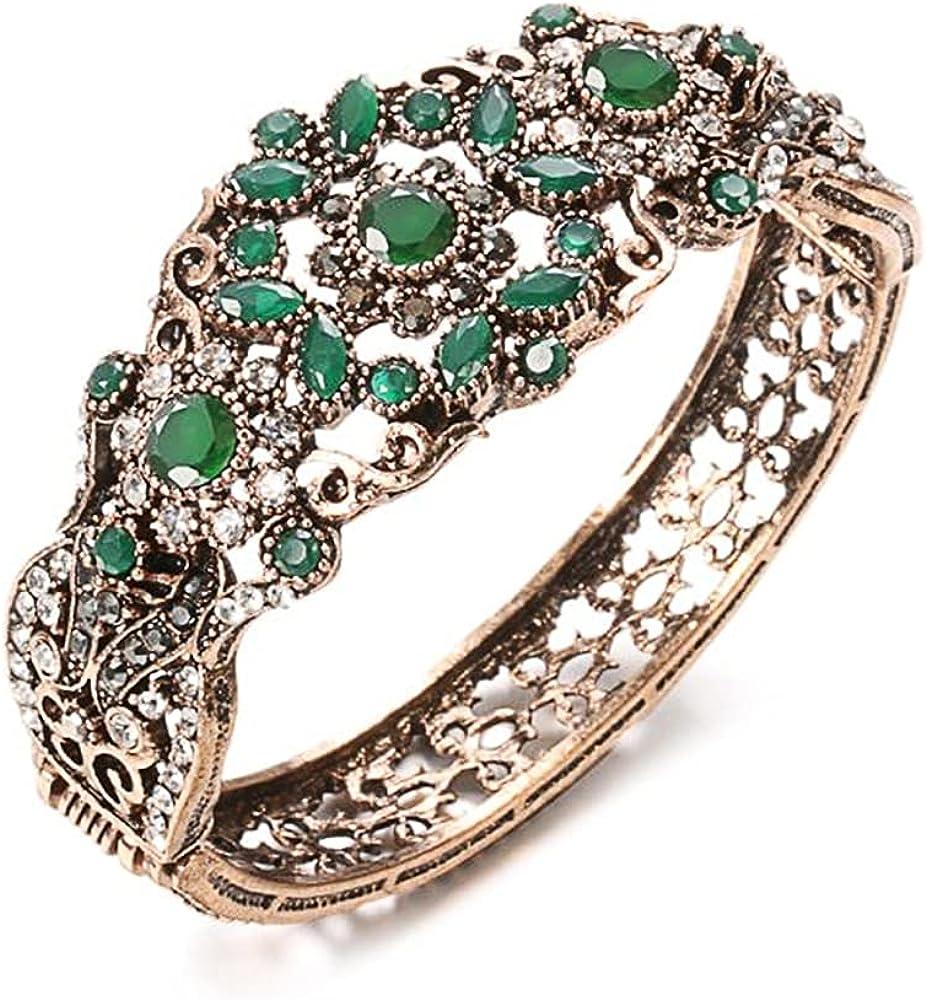Cuff Bracelet for Women, Vintage Green Stone Bangle Bracelet, Antique Gold Rhinestone Hollow Flower for Women Girls Motivational Birthday