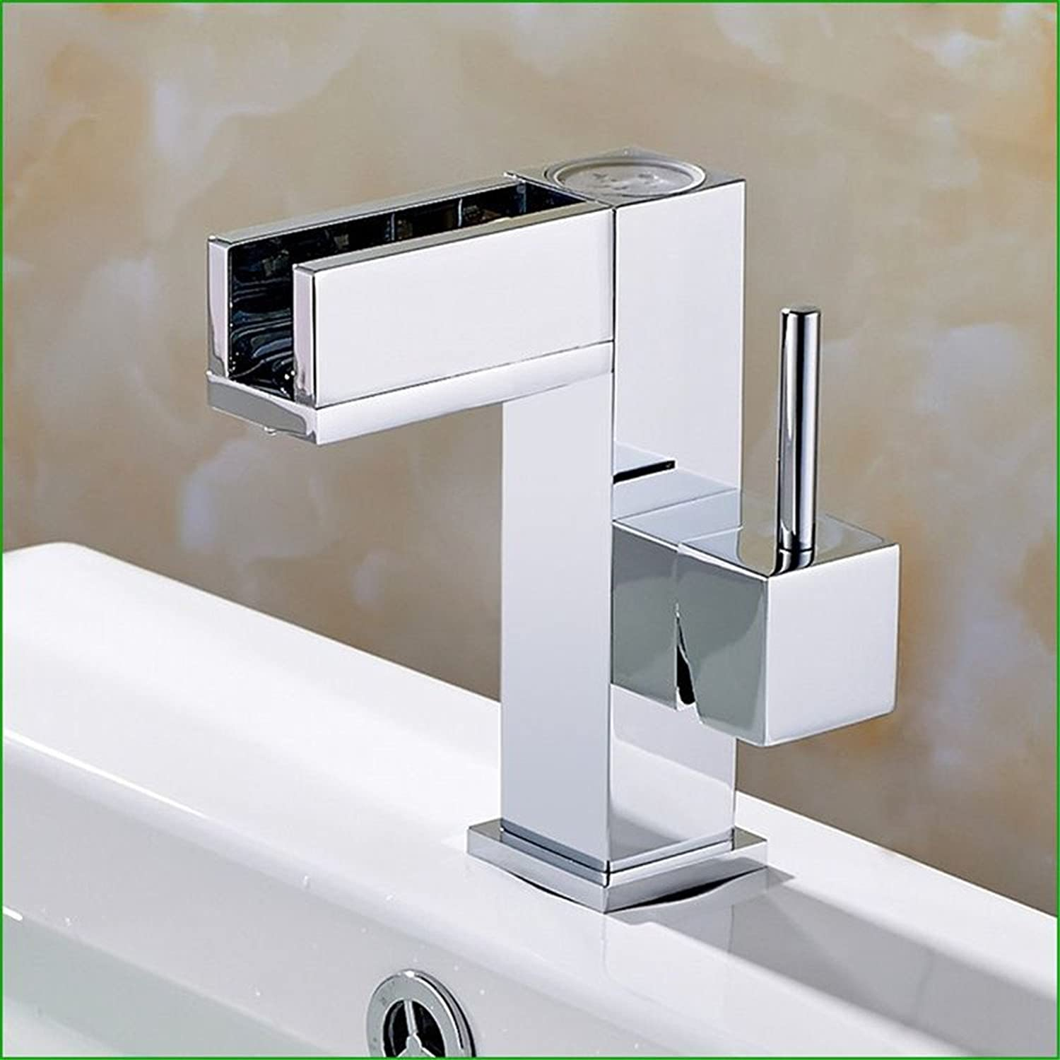Bijjaladeva Antique Bathroom Sink Vessel Faucet Basin Mixer Tap The copper LED bathroom sink temperature control three-color faucet Vanity basin cold water tap.