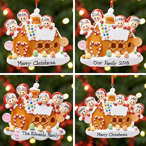 Personalisierte Dekoration Weihnachtsbaum Lebkuchenhaus Familie - 3, 4, 5 & 6 (Gingerbread House Family)