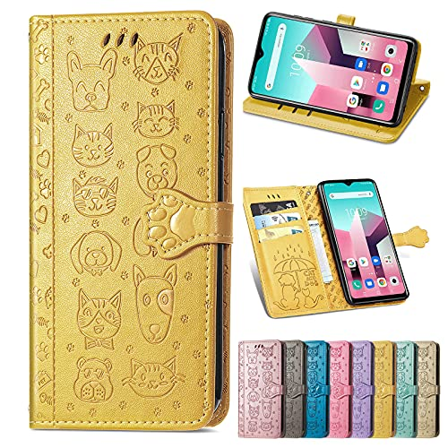SHHIIA Funda tipo cartera para Samsung Galaxy J7 Duo, funda de piel sintética de alta calidad [correa larga] con función atril y bolsillos para tarjetas de crédito para Samsung Galaxy J7 Duo, amarillo