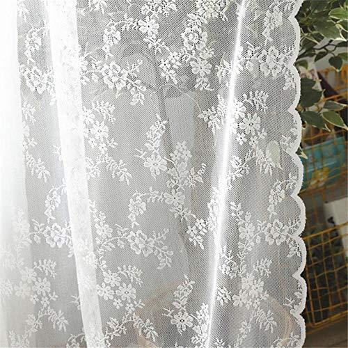 PENVEAT Cortinas Transparentes de Encaje Blanco Europeo para Sala de Estar Dormitorio Ventana Cortinas de Tul Cortinas decoración de hogar Sarape, Blanco, 145x250cm 1pc, Bolsillo de Barra