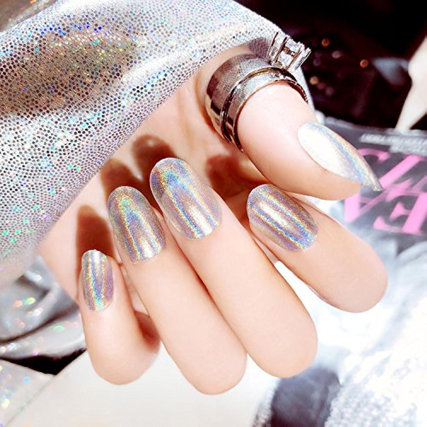 ブラインド海嶺単独で質感 彩がつく 24枚純色付け爪 ネイル貼るだけネイルチップ レーザー 多重光沢 お花嫁付け爪 ジェルネイルの光疗法 シンフォニー (輝くシルバー)