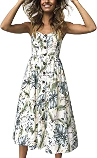 Womens Spaghetti Strap Sleeveless Dress Long Sundresses Summer Boho Floral Knee Length Button Down Midi Swing Dress