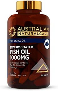 Australian NaturalCare - Fish & Krill Oil - Enteric Coated Fish Oil 1000mg Vitamin Capsules including Omega 3 for Healthy Heart & Cardiovascular System Function (100 Capsules)
