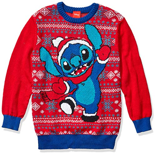 Disney Boys' Ugly Christmas Sweater, Stitch/Red, Small (6/7)