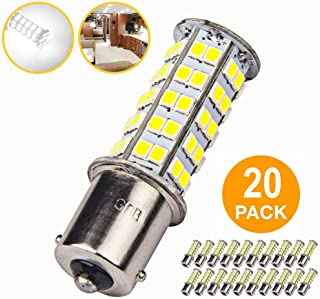 20 Pcs Extremely Super Bright 1156 1141 1003 BA15S 68-SMD LED Replacement Light Bulbs for RV Indoor Lights(20-Pack, Pure White (6000K-6500K Color Temputure))