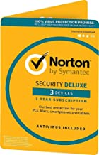 Symantec Norton Security Deluxe – 3 Devices – 1 Year Subscription [PC/Mac/Mobile Key Card]