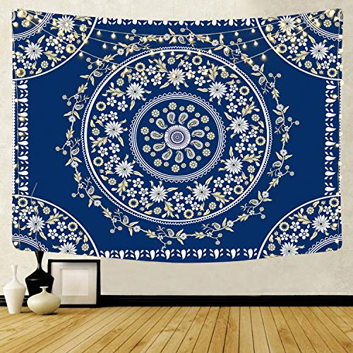 QCWN Mandala Tapestry Bohemian Tapestry Wall Hanging, Mandala Floral Medallion Hippie Tapestry with White Aesthetic Wreath Design, Navy Wall Decor Blanket for Bedroom Home Dorm (Blue, 59' L51 W)