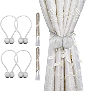 cyrico Magnetic Curtain Tiebacks, Decorative Curtain Holdbacks Rope Holdbacks Convenient Drape Tie Backs for Thick Sheer Curtains Light Weight Drapes Outdoor and Indoor Curtains, Grey (4 Pack)