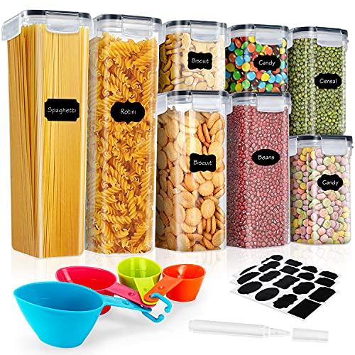 Gifort Vorratsdosen Set, Aufbewahrungsbox Küche Luftdicht Behälter aus Kunststoff Mit Deckel, BPA- Frei Müsli Schüttdose, Vorratsgläser zur Aufbewahrung für Getreide/Reis/Mehl/Nüsse (4 Größe 8 STK)