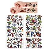 5 Sheets Tatuajes temporales de Marvel Avengers, pegatinas de piel (más de 100 diseños), cumpleaños para ,útiles escolares, suministros de fiesta, pegatinas de regalo para niños…