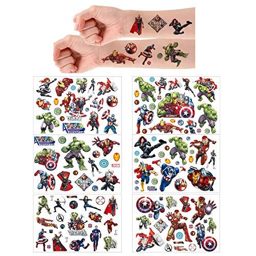 Marvel Avengers Temporäre Tattoos Haut Aufkleber 6 Sheets(150 + Designs), Geburtstag für Jungen Mädchen Kinder Schulmaterial, Partyzubehör Gefälligkeiten, Aufkleber Geschenk für Kinder