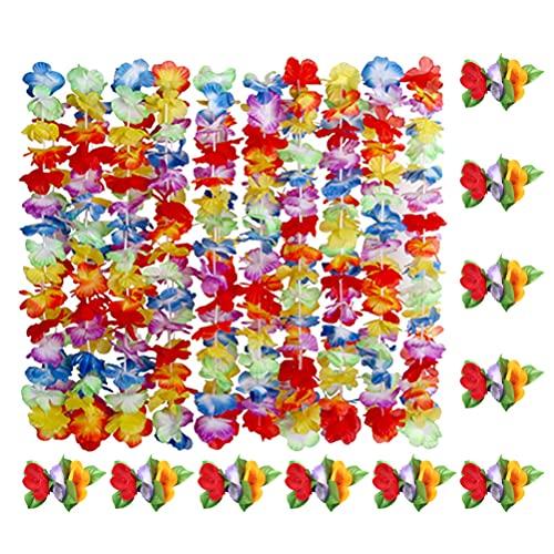 jojofuny 10 Juegos de Horquillas Hawaianas para El Cabello con Flores Hawaianas Luau Tiki Flores de Verano para Fiestas de Piscina Suministros Decoraciones Favores