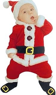 Sunbona 4Pcs Christmas Set Outfits Infant Baby Boys Girls Warm Santa Christmas Coat+Pants+Hat+Socks Clothes