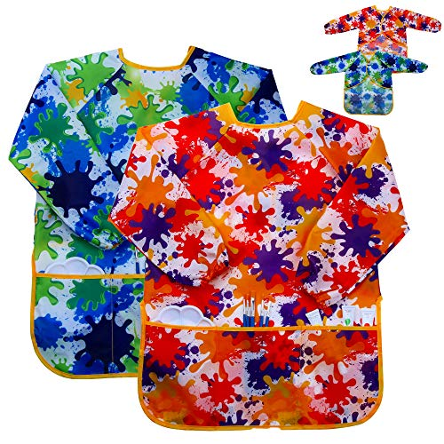 Kids Art Smock Painting Apron - (Pack of 2) Long Sleeve and 2 Pockets for Baking, Eating, Arts & Crafts for Children Ages 2-8 - Waterproof Artist Paint Shirt Smock for Kids