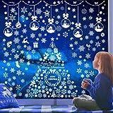 241 PCS Christmas Snowflake Window Clings Decorations - White Christmas Window Decals for Xmas Winter Christmas Decorations Holiday Snowflake Ornaments