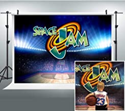 Basketball Court Photography Backdrop for Space Jam Party, 9x6FT, Indoor Sports Birthday Background, Photo Booth Studio Props LHLU198