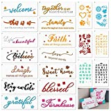 Welcome Stencils for Painting on Wood,Sweet Home Funny Family Alphabet Letter Stencils, Inspirational Words Reusable Template,Patten Stenciling for Window Wall Gift,Word Art Works,Home Décor