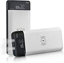 Mezone Wireless Charger Power Bank Qi Portable Charger 16000mAh Double Flash Lights with LCD Digital Display External Battery Charger for iPhone X / 8,Samsung Galaxy S8 Note 8 and More (White)