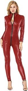 Babydoll Mujer Sexy LenceríA Lanskirt Body Pijamas Mujer Mono LenceríA Seductora de Cuero Artificial Entrepierna Abierta Body SiaméS Bodysuit Transparente CamisóN Ropa de Dormir