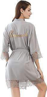 PROGULOVER Women's Cotton Kimono Robe for Bride Bridesmaid Wedding Party with Gold Glitter