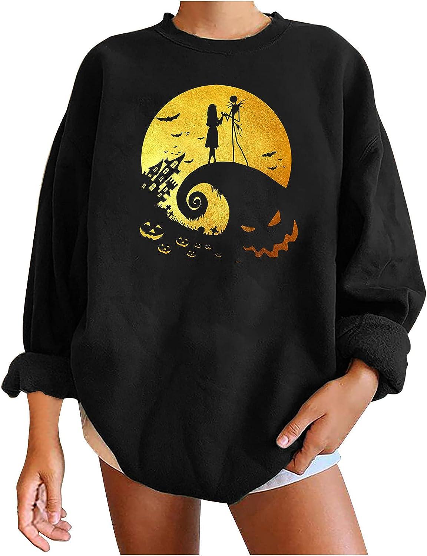 Womens sale safety Halloween Oversized Crewneck Print C Sweatshirts Fashion